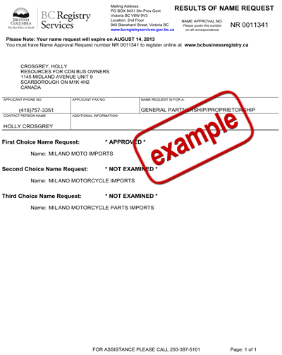 Business Name Request and Approval - Small Business BC