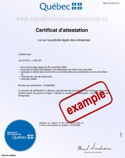 Quebec Certificate of Status