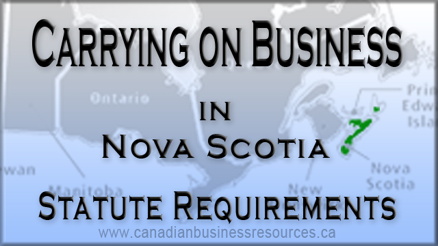 Carry on Business in Nova Scotia – Statute Requirements