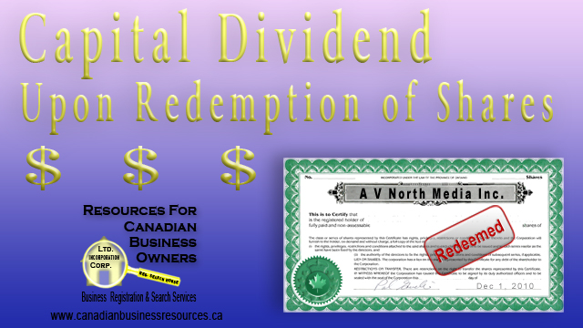 Capital Dividend Upon Redemption