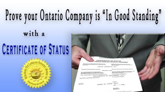 Ontario Certificate of Status