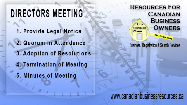 Directors Meetings – How to Conduct a Proper and Legal Directors Meeting