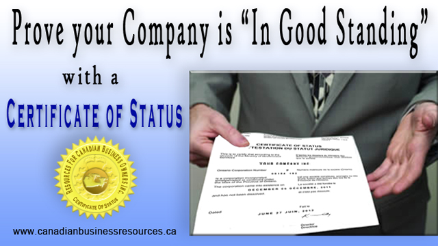 When is a Certificate of Status Issued