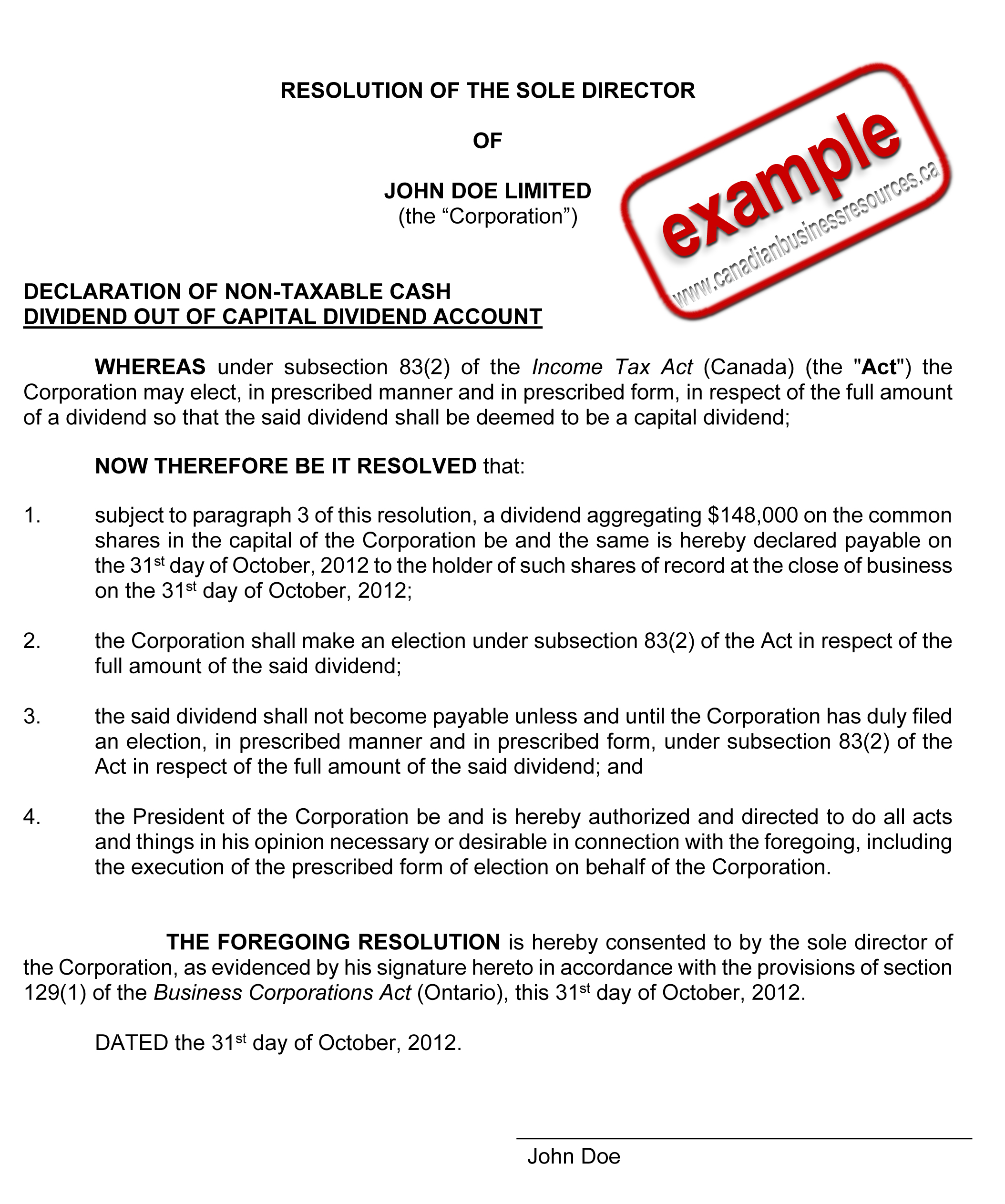 Below is an example of a directors resolution approving a capital ...